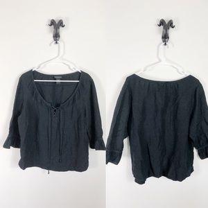 Lane Bryant Black Peasant Shirt